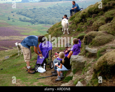 Family Picnic With Sheep Sugar Loaf Mountain Black Mountains Near Abergavenny South East Wales