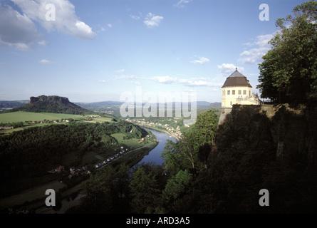 Königstein, Festung, Blick auf die Elbe - Stock Photo