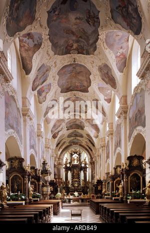 Prag, Kloster Strahov, Kirche Maria Himmelfahrt, Innenansicht - Stock Photo