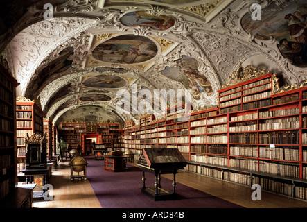 Prag, Kloster Strahov, theologische Bibliothek - Stock Photo