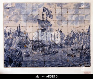 Delft, Museum Lambert van Merten, Fayance, Seeschlacht 1692 am Kap la Hague - Stock Photo