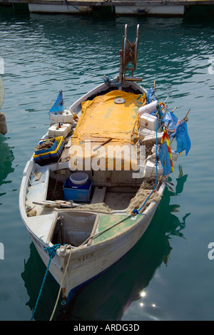 Old fishing boat in Nice harbour France - Stock Photo
