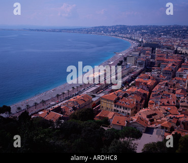 View over Baie des Anges and the Promenade des Anglais  from Colline du Chateau, Castle Hill, Nice, France - Stock Photo