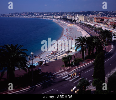 View over Baie des Anges and the Promenade des Anglais from Colline du Chateau, Castle Hill Nice, France - Stock Photo