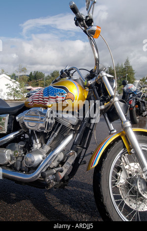Harley Davidson Motorcycle Stars and Stripes Paint Job.  XTR 3703-356 - Stock Photo