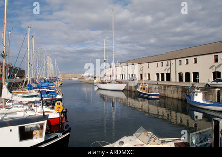 Lossiemouth on the Moray Firth offers good berthing for local leisure boats.   XPL 3619-350 - Stock Photo