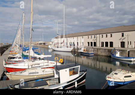 Lossiemouth on the Moray Firth offers good berthing for local leisure boats.  XPL 3620-351 - Stock Photo