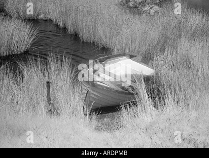 Boat on lake - monochrome - Infra red - Stock Photo