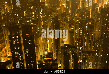 High rise apartments are crammed together on Hong Kong Island - Stock Photo