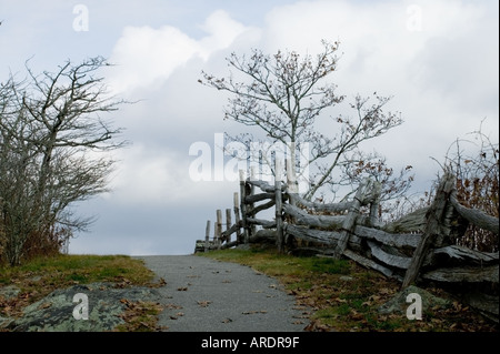 artistic scene of rare beauty in the fall of the Blue Ridge with yellow, red, orange leaves split rail log fence, - Stock Photo