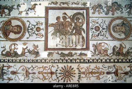 Art works in the museum of Bardo, in Tunis, Tunisia. Here is a a large Roman mosaic. - Stock Photo