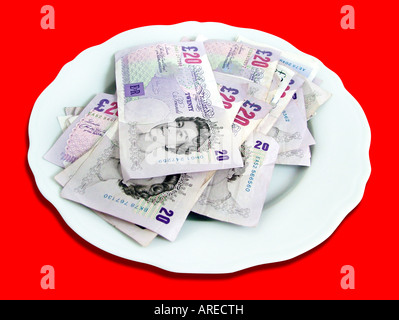 British Money on a plate - Stock Photo