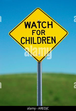 WATCH FOR CHILDREN warning sign - Stock Photo