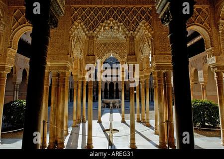 Inside the Alhambra Palace - Courtyard in the Patio de los Leones area, Granada, Spain - Stock Photo