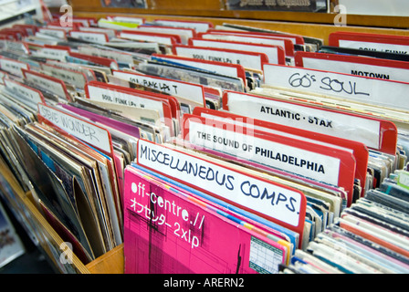 Rows of miscellaneous secondhand vinyl records in shop in Notting Hill, London England UK - Stock Photo