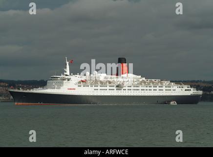 The Cunard cruise liner Queen Elizabeth 2 at South Queensferry, Edinburgh, Scotland, UK - Stock Photo