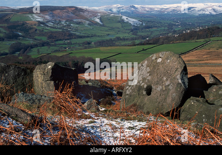 Abandoned millstones on Hathersage Moor  in Derbyshire 'Great Britain' - Stock Photo