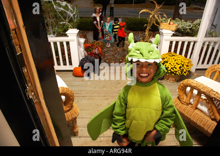 Portrait of Boy Trick or Treating at Halloween - Stock Photo