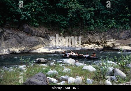 Tubing down Bohorok river,Sumatra,Indonesia - Stock Photo