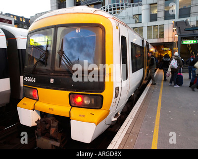 Train at Charing Cross Station London England UK - Stock Photo
