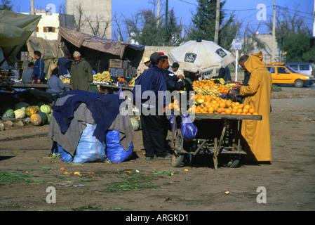 Characteristic Market Beni Mellal Tadla-Azilal Middle Atlas Morocco Maghreb Maghrebian Berber Arab Arabic Moroccan - Stock Photo