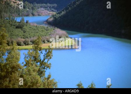 Ben el Ouidane Reservoir Azilal Middle Atlas Morocco Maghreb Maghrebian Berber Arab Arabic Moroccan North Africa - Stock Photo