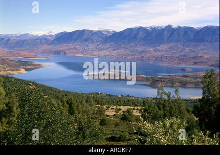 Lake Ben el Ouidane Reservoir Azilal Middle Atlas Morocco Maghreb Maghrebian Berber Arab Arabic Moroccan North Africa - Stock Photo