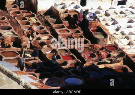 Tanneries Chouwara Fes el Bali the Old Medina  Fez Fès-Boulemane Northern Morocco North Africa - Stock Photo