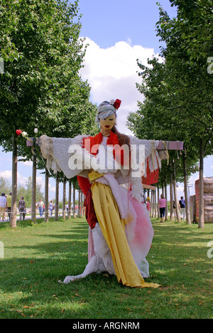 Artistic fashionable scarecrow at the Federal Garden Exhibition 2005 in Munich Bavaria Germany Europe - Stock Photo