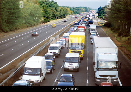 M3 Motorway blocked by accident causing severe Traffic Jam - Stock Photo