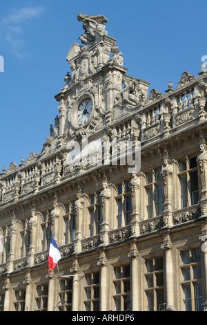 Façade of the cityhall of Valenciennes (Hainaut-France) - Stock Photo
