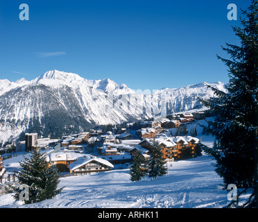 View over the resort centre, Courchevel 1850, Three Valleys, Savoie, French Alps, France - Stock Photo