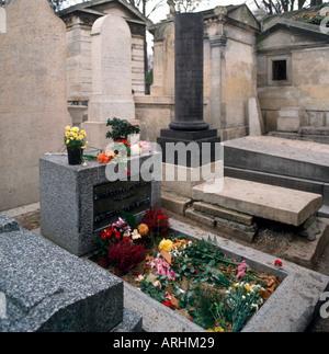 Jim Morrison's Grave, Pere Lachaise Cemetery, Paris, France - Stock Photo