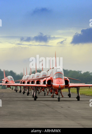 The Red Arrows RAF formation display team taxiing their Hawk aircraft to stand - Stock Photo