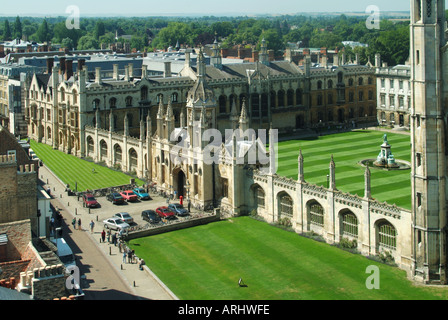 Cambridge university town looking down on part of the Kings College ornate screens and chapel frontage along Kings - Stock Photo