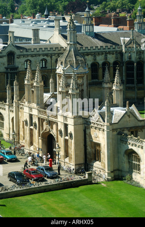 Cambridge university town part of the Kings College complex showing the ornate porters lodge - Stock Photo