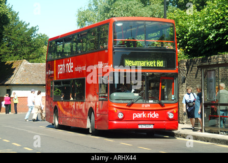 Cambridge university town park & ride buses at bus station linking peripheral car parks with town centre to reduce - Stock Photo
