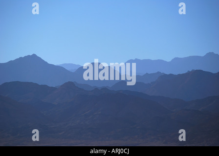 View of Saudi Arabian mountains across Gulf of Aqaba, Nuweiba, Sinai Peninsula, Republic of Egypt - Stock Photo