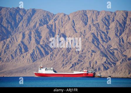 Vehicle and passenger ferry to Saudi Arabia, Nuweiba Port, Nuweiba, Sinai Peninsula, Republic of Egypt - Stock Photo