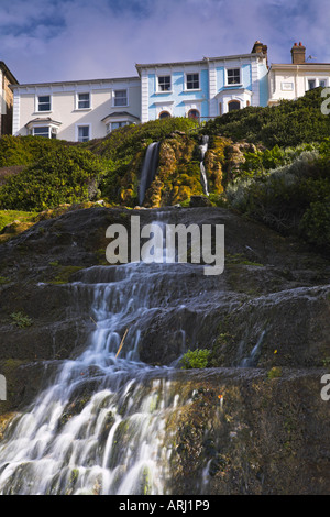 The waterfall at Cascade Gardens Ventnor - Stock Photo