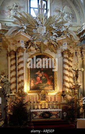 Interior of St. Anne's Church Krakow Poland - Stock Photo