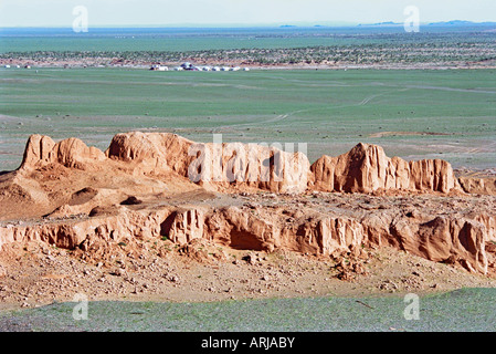 Erosion formations of brown sedimentary minerals. Bayan Zag, South Gobi desert, Mongolia - Stock Photo