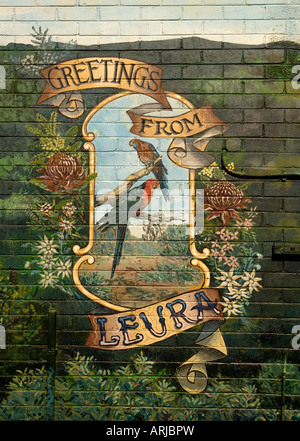 An artists mural on the side of a wall in Leura in the Blue Mountains NSW Australia - Stock Photo