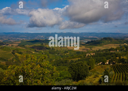 Rolling clouds threaten the hills of Southern Tuscany, framed by a blue sky. Vineyards and villas can are hiding - Stock Photo