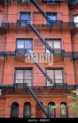 Apartment fire escapes, Brooklyn, New York, NY, USA - Stock Photo