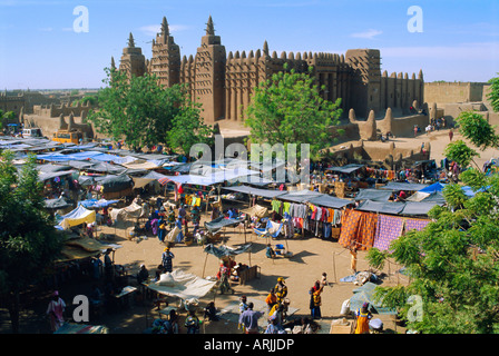 Monday Market in front of the Great Mosque, Djenne, Mali, Africa - Stock Photo