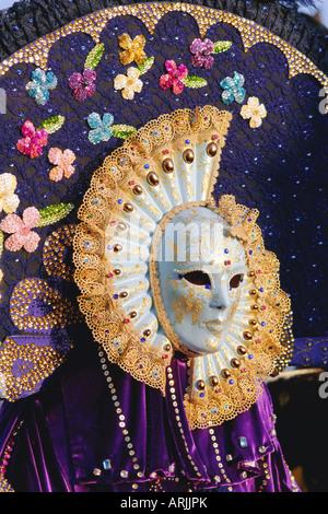 Person wearing masked carnival costume, Venice Carnival, Venice, Veneto, Italy - Stock Photo