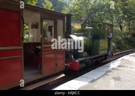 Talyllyn Railway - The Quarryman engine at Dolgoch - Stock Photo