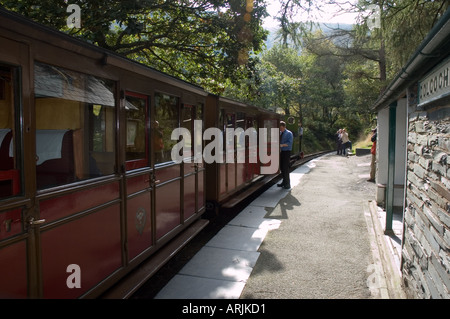 Talyllyn Railway - The Quarryman engine at Dolgoch Station - Stock Photo