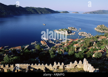 Kalekoy fortress, Kekova Bay, Lycia, Anatolia, Turkey, Asia Minor, Asia - Stock Photo